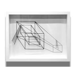 Evandro Soares - nanquim, arame e solda 28 x 37 cm Sem Título ass. verso 2012 - acompanha certificado do Instituto Adelina
