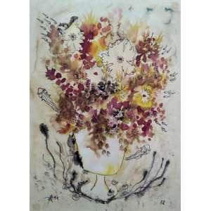 """Petrônio Pereira Bax - nanquim e aguada sobre cartão 35 x 25 cm """"Vaso de flores"""" ass. inferior esquerdo 1972"""