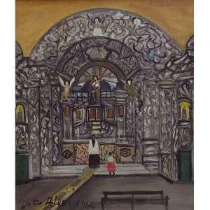 João Alves - óleo sobre tela 55 x 46 cm Interior de Igreja ass. CIE e verso 1966