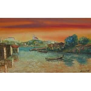 Almiro Borges - óleo sobre tela 33 x 55 cm Ilha dos Ratos ao fundo Bonfim ass. CID e verso 1972