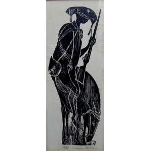 Karl Heinz Hansem - xilogravura 72 x 29 cm Cangaceiro ass. Hansem / Bahia t.16/60