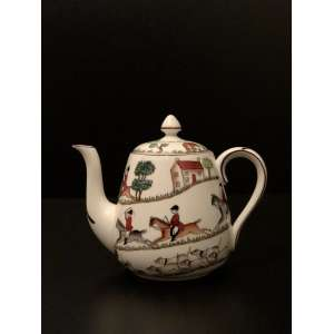 Staffordshire England. Lindíssimo bule para chá pintado e numerado a mão. Medida: 14cm de altura. <br /><br /><br><br>Beautiful Staffordshire tea pot painted and numbered by hand. Measurements: 14cm high.