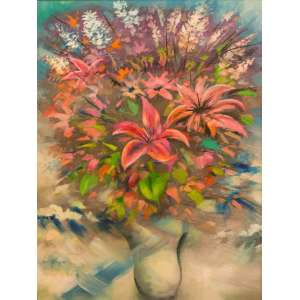 Enrico Bianco -Vaso de Flor - 80 x 60 cm - Óleo sobre tela - ANO E ASSINATURA - Com bela moldura com paspatur em madeira, na cor branca.