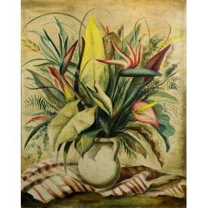Enrico Bianco -Vaso de flores - 91 x 72 cm - óleo sobre tela - Déc. 40 - Assinado E. Bianco no c.i.d - Com moldura baguete aplicada sobre paspatur de tecido e moldura externa na cor de madeira.
