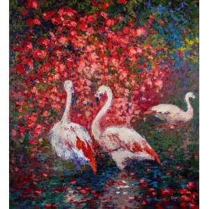 Deja - Flamingos com flores vermelhas - 100 x 90 cm - Acrílica sobre tela - 2015 - Assinado no c.i.d - Moldura baguete tom de madeira