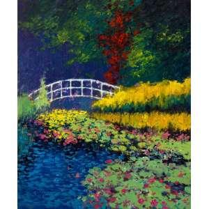 Deja - Jardim de Monet - 120 x 100 cm - Acrílica sobre tela - 2014 - Assinado no c.i.e - moldura baguete em tom madeira clara.