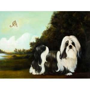 Carlos Anesi - Cachorro Shitzu - 60 x 80 cm - Óleo sobre tela - Déc 70 - Assinado no canto superior esquerdo CA - moldura baguete dourada.