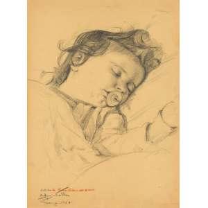 Edgar Walter - Estudo de Eloisa Helena aos 2 anos - 33,5 x 24,5 - Desenho a grafite sobre papel - 1954 - Assinado e datado Firenze 1954 a lápis no c.i.e