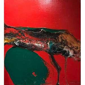 Manabu Mabe -Abstrato - 45 x 40 cm - Óleo sobre tela - 1969 Assinado no canto inferior direito. - Com moldura baguete aplicada em paspatur com baguete externa.