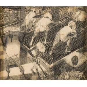 Cândido Portinari - Colheita de Café - Desenho a grafite sobre papel - 1960 - Assinatura no canto superior esquerdo. - [FCO 392] - Estudo para o painel Colheita de Café; Participou da exposição 30 Desenhos de Portinari , Centro de Arte Moderna da Fundação Calouste Gulbekian, Lisboa, 1987.; Reproduzido nos livros: Catálogo Raisonné, vol. IV, pg. 480; Portinari - A Construção de uma Obra, Ed. Dom Quixote, pg. 203 - Bélissma moldura em madeira entalhada com paspatur em cânhamo.