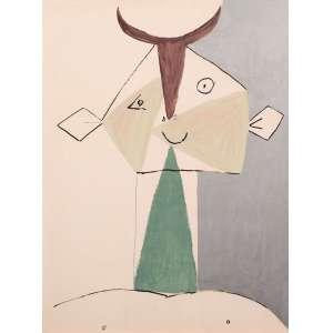 Pablo Picasso -Fauno - 65 x 50 cm - Litografia - Parte do álbum Faunes et Flore d'Antibes. Impresso por Daniel Jacomet com acompanhamento de Picasso, publicado por Au Pont Des Arts, Paris, 1960. O trabalho original foi criado em 1946, por Picasso, para sua série Joie de Vivre. - Linda moldura com paspatur em cânhamo, com patina dourada e vidro sobre a obra.