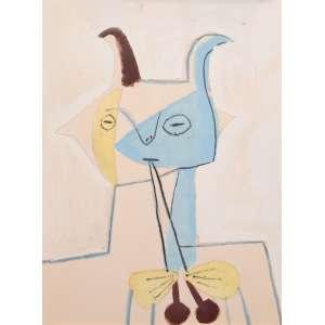 Pablo Picasso -Faune jaune et bleu jouant de la diaule - 65 x 50 cm - Litografia - Parte do álbum Faunes et Flore d'Antibes. Impresso por Daniel Jacomet com acompanhamento de Picasso, publicado por Au Pont Des Arts, Paris, 1960. O trabalho original foi criado em 1946, por Picasso, para sua série Joie de Vivre.Linda moldura com paspatur em cânhamo, com patina dourada e vidro sobre a obra.