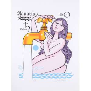 Ziraldo - Aquarius - 80 x 60 cm - Fine art sobre tela Canson museu - Prova do artista - Impressa com tinta especial de alta pigmentação.