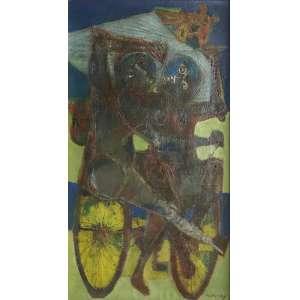 Rapoport - Os Ciclistas - 100 x 55 cm - 1960 - Óleo sobre tela Assnado no c.i.d- Reproduzido no livro Obras Primas da Arte Brasileira, pg 194. Medida com moldura: 121 x 66 cm