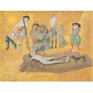 Cândido Portinari - Retirantes III - Desenho a lápis de cor sobre papel - 28 x 35 cm - 1955 - Assinado e datado no canto inferior direito Portinari 55.Reproduzido no Catálogo Raisonné - vol. III, pg 480;Reproduzido no livro Portinari - A Construção de uma Obra, Ed. Dom Quixote, pg 151; Participou da Exposição Portinari, oil paintings and drawings, 1956, Israel; Portinari: oeuvres récentes, Maison de la Penseé Française, Paris, 1957
