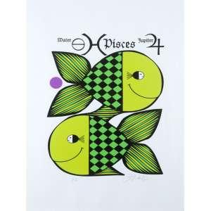 Ziraldo -Pisces (série Signos) - Fine Art sobre tela - 80 x 60 cm