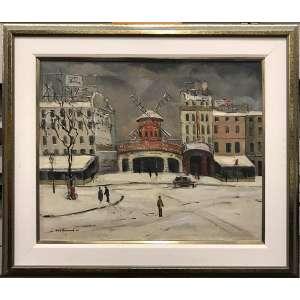 Bustamante Sá - Moulin Rouge - 50 x 60 cm - Óleo sobre tela - 1950 - Assinado no c.i.e e no verso