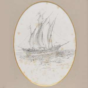 Giovanni Batista Castagnetto - Chalupa - Desenho a nanquim - 20 x 14,5 cm - c. 1900