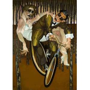 Juarez Machado - De Bicicleta na Floresta de Gustsav Klimt - 100 x 73 cm - Óleo sobre tela - Paris, 2013 - Ass. E datado no cie e no verso. - Reproduzido no livro Um Passeio pelo Mundo de Juarez Machado, pg. 87.
