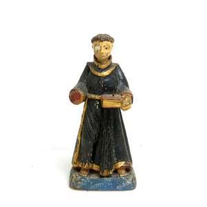 Santo Antônio, imagem sacra de madeira entalhada, policromada e dourada. Alt. 22x10x08cm. Brasil séc. XIX (precisa pequenos restauros)