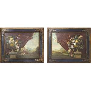 Pendant de quadros representando Flores, sem assinatura do artista, OST, 50 x 60cm. Europa, séc. XVIII/XIX. (com chassis e moldura de pinho-de-riga)