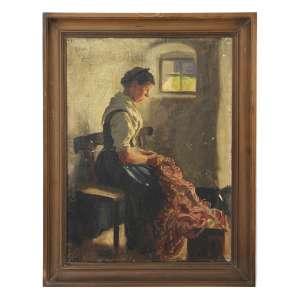 EMIL RAU (1858-1937), Figura Feminina com Tecido, OST, ACSE, 45 x 30cm. Alemanha, séc. XIX/XX (precisa pequenos restauros)