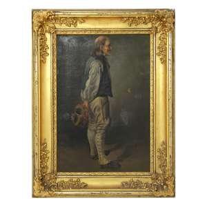 Quadro sem assinatura do artista, Figura Masculina, OST, 45 x 30cm. Europa, séc. XIX/XX (precisa pequenos restauros)