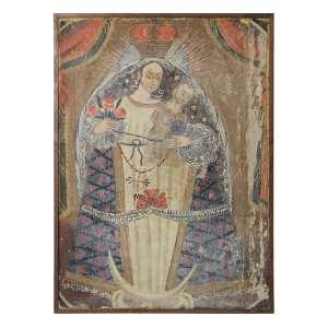 Quadro cusquenho, Guadalupe, OST, 62 x 45cm. Peru, séc. XIX (precisa pequenos restauros)