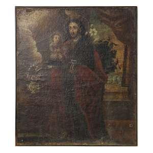 Quadro cusquenho, São José, OST, 70 x 60cm. Peru, séc. XVIII/XIX (precisa pequenos restauros)