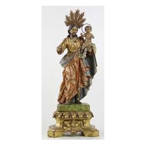 SÃO JOSÉ, Imagem de madeira ricamente entalhada, policromada e dourada. Alt. 33 x 14 x 14cm (total). Portugal séc. XIX.