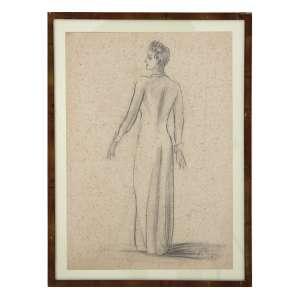 ERNESTO DE FIORI, Figura Feminina, Desenho à Carvão, ACID, 47 x 32cm. Datado 1939 (papel com fungos)