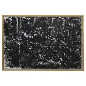 Quadro de artista contamporâneo não identificado, Abstrato, Desenho à Nanquim Sobre papel / Tela, 64 x 97cm.