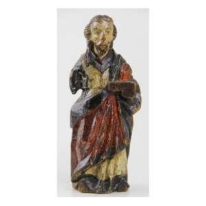 Imagem sacra de madeira entalhada e policromada. Alt. 18 x 05 x 06cm. Brasil, séc. XVIII/XIX.