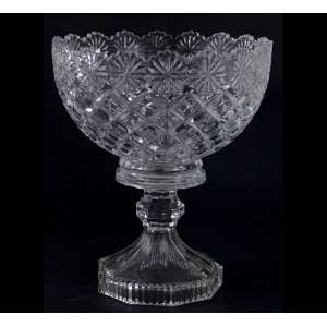Fruteira de vidro artístico com decoração à maneiro bico de abacaxi. Alt. 23 x 20cm.