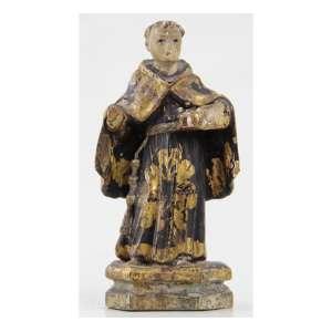 SANTO ANTÔNIO, Imagem de madeira entalhada, policromada e dourada. Alt. 13 x 06 x 04cm. Brasil, séc. XIX.
