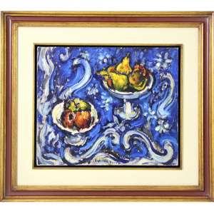 SERGIO TELLES, Frutas, OST, ACID, 38 x 45cm. Datado e Localizado Moscou, 1983