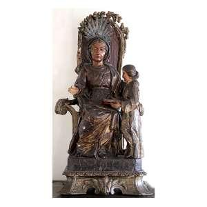 SANTANA MESTRA, Imagem de madeira entalhada e policromada, resplendor de prata-de-lei sem contraste. Alt. 64 x 30 x 26cm. Brasil, séc. XVIII.