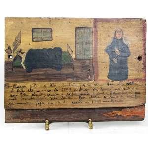 Quadro Ex-Voto, ornamentado com cena e imagem sacra, datado de 1899. 21 x 28 x 03cm. Brasil, séc. XIX