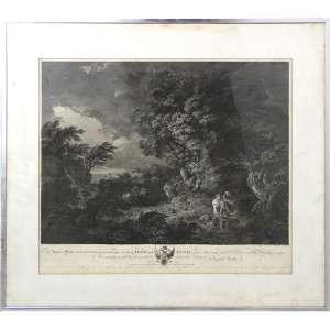 Gravura intitulada Dido and Eneas, impressão a partir de foto da coleção particular de Catharine II da Rússia. 62 x 70cm. Europa, séc. XIX (c/ sinais de fungos)