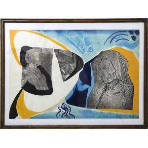 Quadro de artista não-identificado, Composição com Colagens e Técnica Mista, ACID, 41 x 54cm (total com moldura). Datado 1982 (com sinais de fungos)