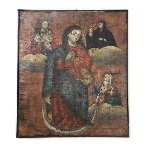 Quadro cusquenho, Imagens Sacras, OST, 47 x 41cm. Peru, séc. XVIII/XIX (reintelado)