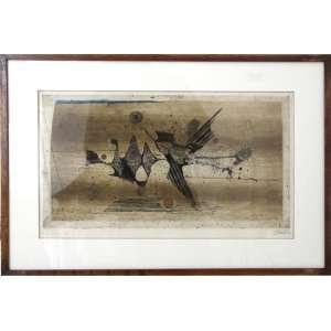 Quadro de artista com assinatura não-identificada, Composição, Serigrafia, ACID, 48 x 71cm.