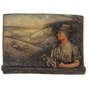A. OTTO, Placa de cerâmica policromada representando homens no campo, ACID, 39 x 54 x 07cm. Áustria, Início séc. XX