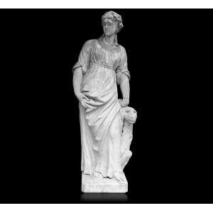 Escultura de mármore representando um dos quatro continentes, figura feminina alada por animal. 125 x 30 x 30cm. Europa, séc. XVIII (compequenos restauros)