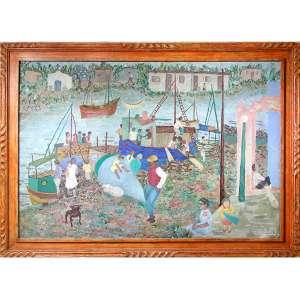 NIOBE XANDÓ, Porto de Paranaguá, OST, ACID, 92 x 137cm. Datado 1988 (participou da retrospectiva da artista , reproduzido em livro ).