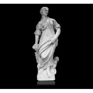 Escultura de mármore representando um dos quatro continentes, figura feminina alada por animal. 125 x 30 x 30cm. Europa, séc. XVIII (com pequenos restauros