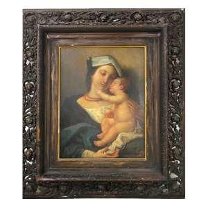 GAETANO BELLEI, Madonna e Bambino, OST, 65 x 47cm. (medidas da pintura). Itália, séc. XIX