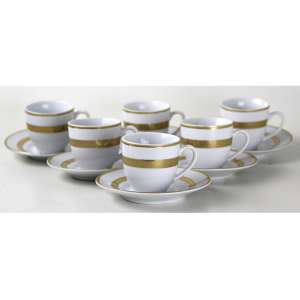 Jogo de 06 xícaras de café de porcelana, monocromadas na tonalidade branca com finos detalhes dourados, marca da manufatura Presentti - Italy Style. 08 x 12cm (total cada)