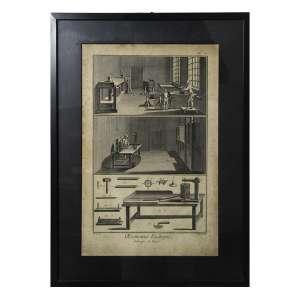 Gravura antiga intitulada Economic Rustique - Fabrique Du Tabac. 49 x 36cm. (total c/ moldura)(com sinais de fungos)