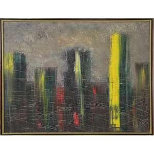 CLAUDIO DENIS MAKSOUD, Cidade, OST, 60 x 80cm. Datado 89, selo no verso da galeria